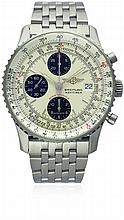 A GENTLEMAN'S STAINLESS STEEL BREITLING NAVITIMER FIGHTERS SPECIAL EDITION CHRONOGRAPH BRACELET WATCH DATED 2004, REF. A13330 D: Silver dial with silver batons, MPH & KM scale with a inner rotating slide rule bezel, triple registers recording hours,