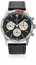 A RARE GENTLEMAN'S STAINLESS STEEL BREITLING CO PILOT CHRONOGRAPH WRIST WATCH CIRCA 1967, REF. 765CP D: Black dial with applied luminous markers, three large silver registers recording hours, minutes & continuous seconds. M: 17 jewel manual wind