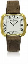 A GENTLEMAN'S 18K SOLID GOLD BAUME & MERCIER WRIST WATCH DATED 1983, REF. 37089 WITH ORIGINAL PAPERWORK D: White dial with applied Roman numerals & inner minute track. M: 17 jewel manual wind movement signed Baume & Mercier, calibre 1050 C: Cushion