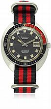 A GENTLEMAN'S STAINLESS STEEL BULOVA SNORKEL 666 FEET DIVERS WRIST WATCH CIRCA 1970s, REF. 714 D: Black dial with luminous filled markers, date apertures. M: 17 jewel automatic movement signed Bulova, calibre 11 BLACD. C: Tonneau case, red & black