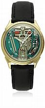 A GENTLEMAN'S STEEL & GOLD FILLED BULOVA ACCUTRON SPACE VIEW WRIST WATCH CIRCA 1971 WITH BULOVA ACCUTRON BOX D: Plexi glass with hour and minute markers. M: Bulova Accutron ''tuning fork''movement signed Bulova. C: Circular case, personal engraving