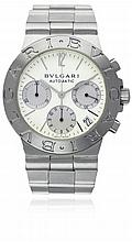 A GENTLEMAN'S STAINLESS STEEL BULGARI DIAGONO AUTOMATIC CHRONOGRAPH BRACELET WATCH CIRCA 2002, REF. CH 35 S D: White dial with silver batons & Arabic numerals, date aperture, triple register recording hours, minutes and continuous seconds. M: