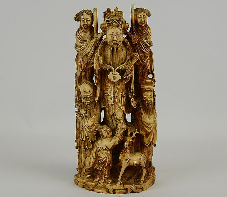 Impressive Chinese Early Qing Dynasty Fu Lu Xi Ivory