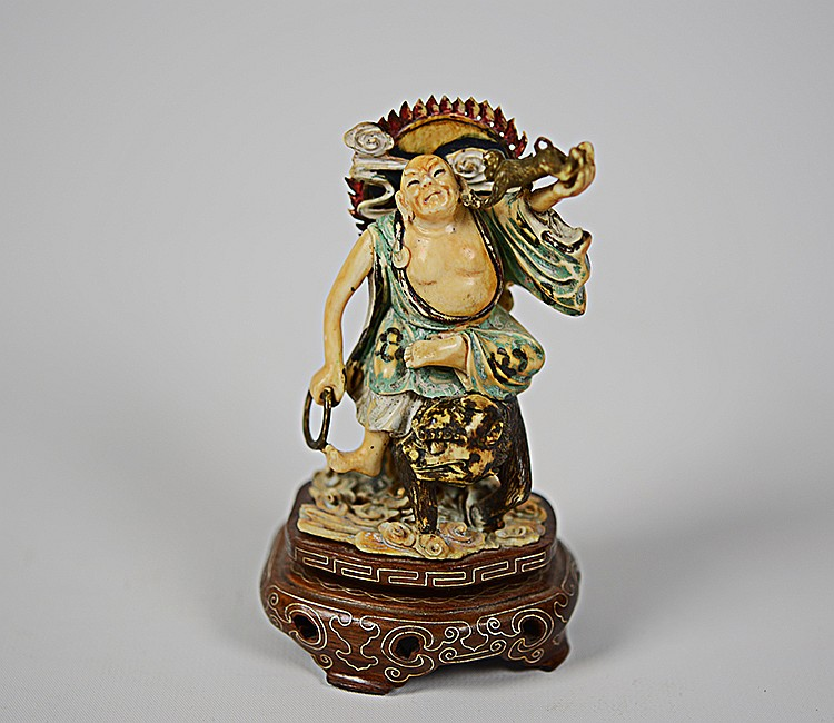 19th Century Chinese Painted Ivory Figural Carving