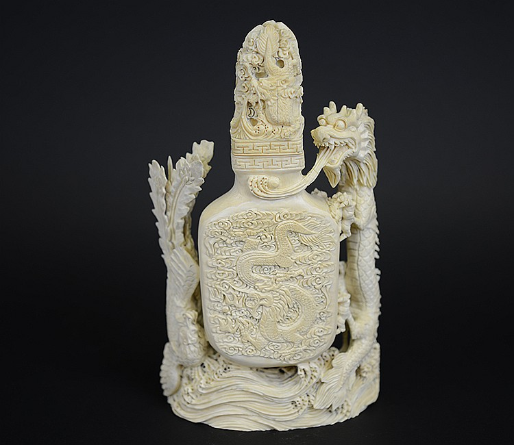 19th Century Chinese Ivory Dragon Flask