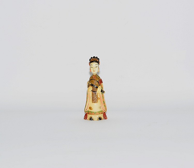 19th Century Chinese Painted Ivory Snuff Bottle
