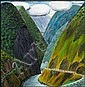 Dick Frizzell Dark Gorge oil on board title