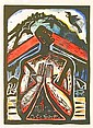 Nigel Brown Tui Whanganui hand-coloured woodcut, 1/20 title inscribed signed and dated '93 450 x 580mm