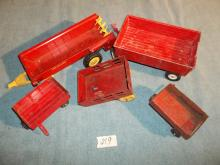 Set of 5 /4 Wagons & Manure Spreader