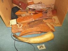 Misc. Leather knife sheafs & Powder Horn