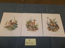 Set of 3 1983, Rabbit, Deer, Chipmunk Prints