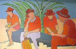 Trevor Coleman (South African 1936-) FIGURES SEATED ON A BENCH signed and dated '84 120 by 180cm