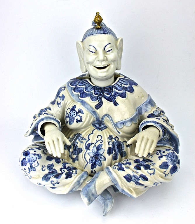 Blue & White Porcelain Sitting Goddess Figure