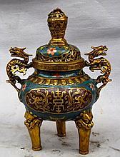 Large Chinese Qing Cloisonne Enamel Incense Burner
