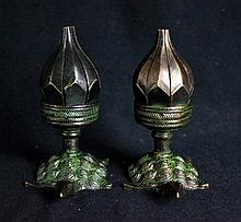 Pair of Chinese Bronze Candle Holders