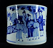 Large Chinese Porcelain Blue&White; Brush Pot
