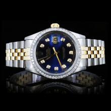 Rolex YG/SS DateJust Men's Diamond Wristwatch