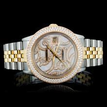 Rolex YG/SS DateJust Diamond Men's Wristwatch