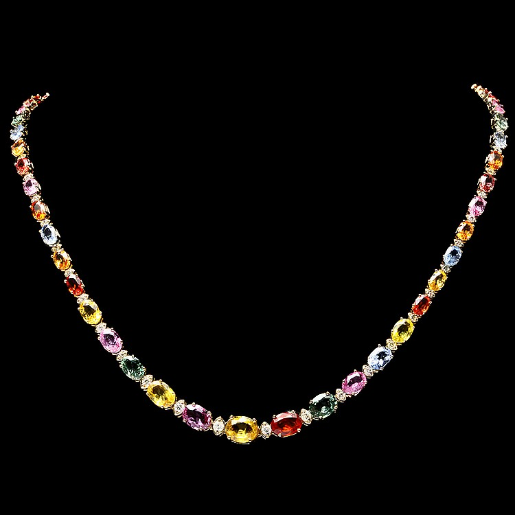 14K YELLOW GOLD 33.00CT SAPPHIRE 1.70CT DIAMOND NECKLACE