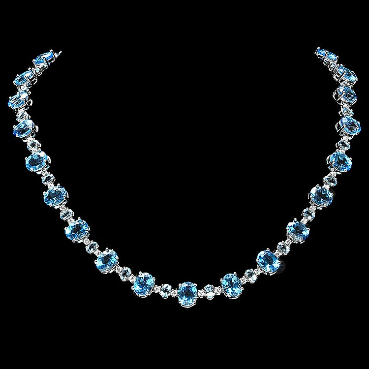 14k Gold 60.00ct Topaz 2.35ct Diamond Necklace
