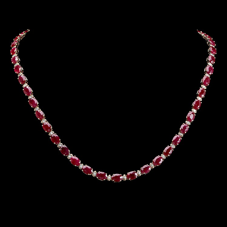 14k Gold 46.00ct Ruby 1.60ct Diamond Necklace