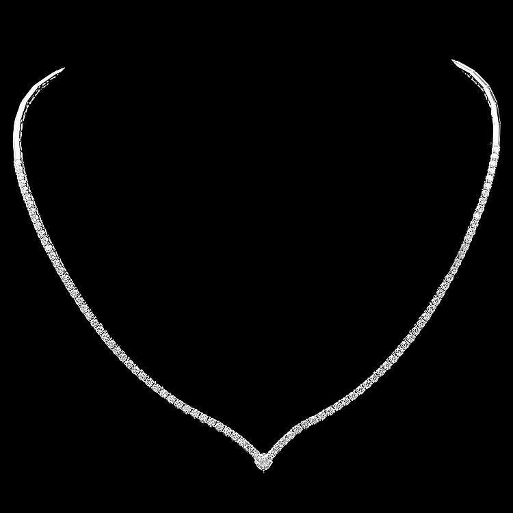 18k White Gold 3.50ct Diamond Necklace