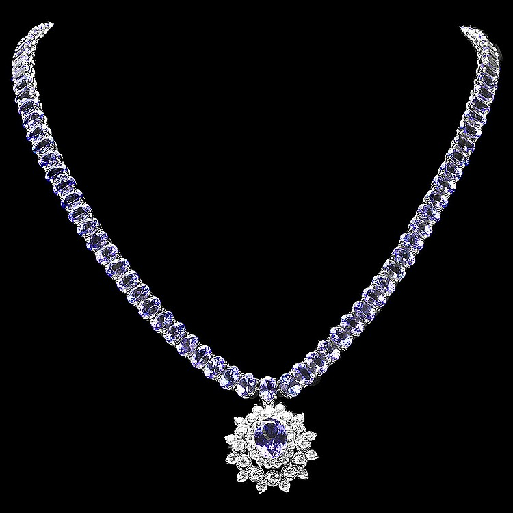 14k Gold 48ct Tanzanite 2ct Diamond Necklace