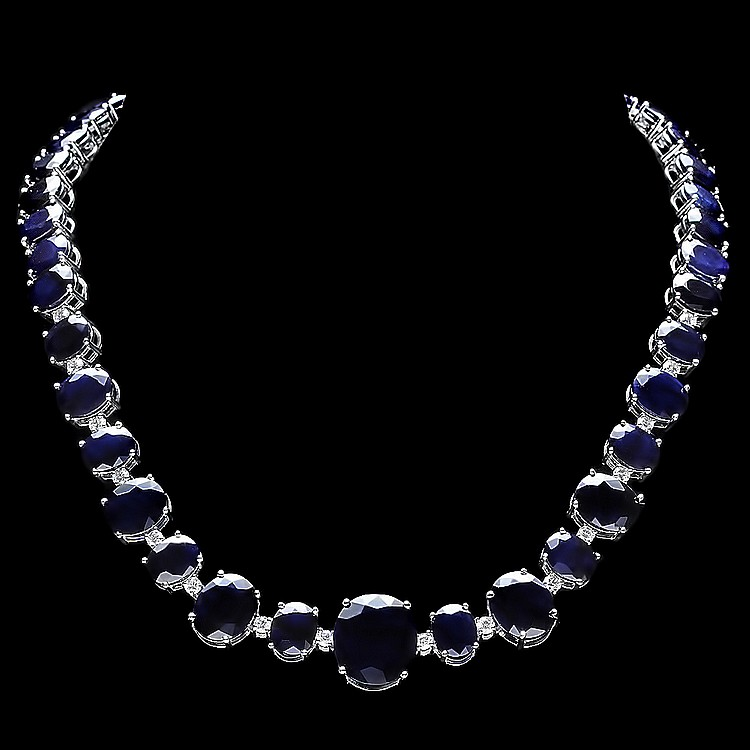 14k Gold 165ct Sapphire 1.8ct Diamond Necklace