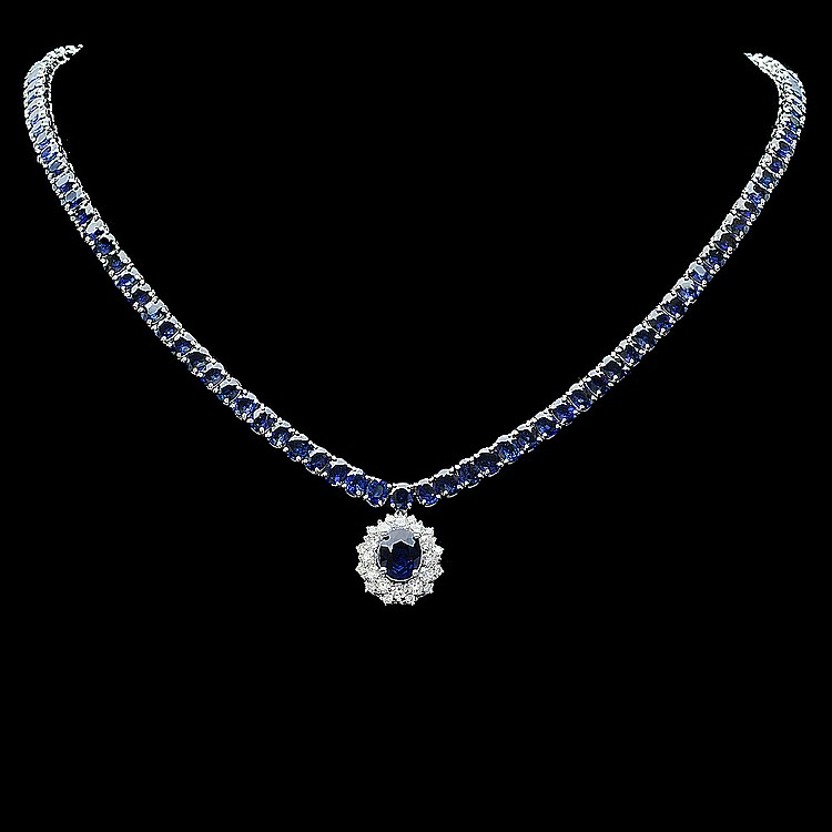 14k Gold 53ct Sapphire 1.50ct Diamond Necklace