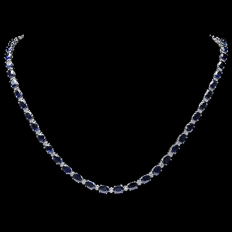 14k Gold 30ct Sapphire 1.00ct Diamond Necklace