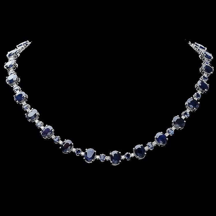 14K WHITE GOLD 63CT SAPPHIRE 2.10CT DIAMOND NECKLACE