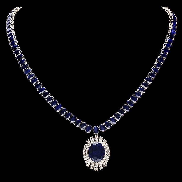 14K WHITE GOLD 58CT SAPPHIRE 1.80CT DIAMOND NECKLACE
