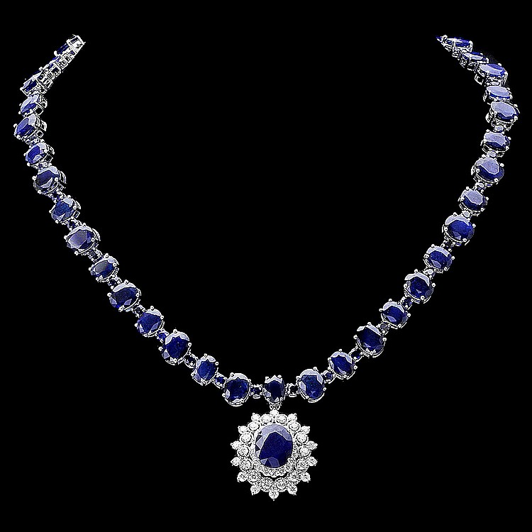 14K WHITE GOLD 87CT SAPPHIRE 2.50CT DIAMOND NECKLACE