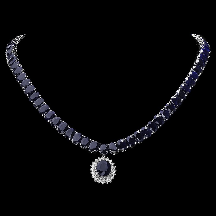 14K WHITE GOLD 105CT SAPPHIRE 1.50CT DIAMOND NECKLACE