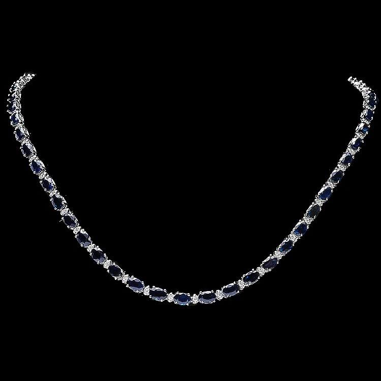14K WHITE GOLD 26.50CT SAPPHIRE 1CT DIAMOND NECKLACE