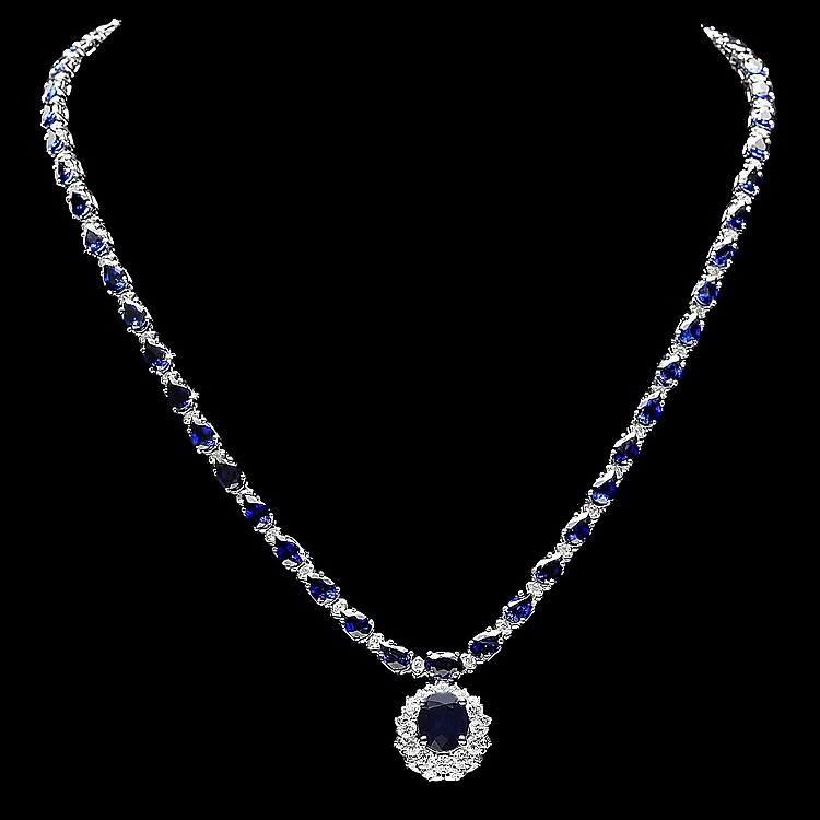 14K WHITE GOLD 27CT SAPPHIRE 3.35CT DIAMOND NECKLACE