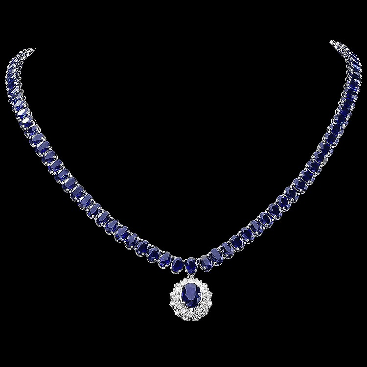 14K WHITE GOLD 52.5CT SAPPHIRE 1.50CT DIAMOND NECKLACE