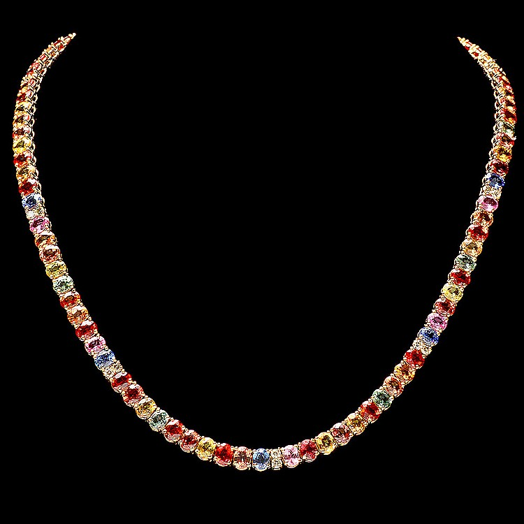 14K YELLOW GOLD 44CT SAPPHIRE 1.0CT DIAMOND NECKLACE