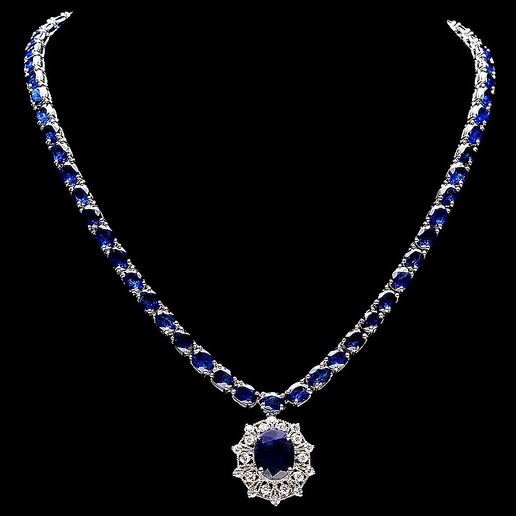 14K WHITE GOLD 58CT SAPPHIRE 1.15CT DIAMOND NECKLACE