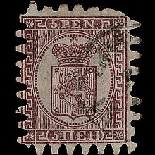 1866 Finland 5p Type 3 Purple Brown Used Stamp