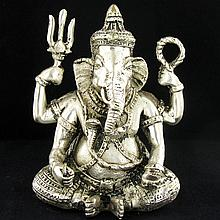 India Nickel Plated Ganesh Temple Piece