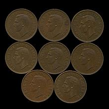 1944-1952 New Zealand AU+ 1/2 Penny Set