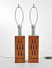 PAIR OF MID-CENTURY CARVED WOODEN LAMPS