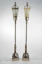PAIR OF ITALIAN BRONZE & MARBLE STANDING LANTERNS