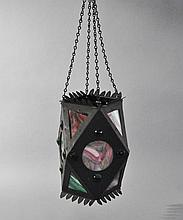 AESTHETIC METAL JEWELED & STAINED GLASS LANTERN