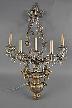 GILT METAL & WOOD WALL SCONCE W/ DROP CRYSTALS