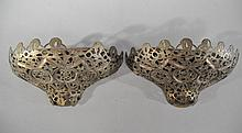 PAIR OF SYRIAN PIERCED BRASS SCONCES OR PLANTERS