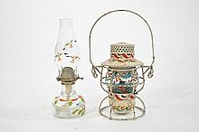 ATTR. TO PETER HUNT HAND PAINTED LANTERN & LAMP