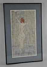 PAUL WIGHTMAN WILLIAMS 1944 NUDE WATERCOLOR