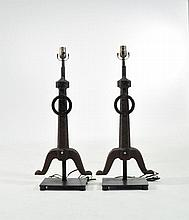 PAIR OF IRON ANDIRON TABLE LAMPS